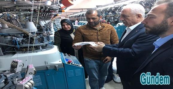 AK Parti İl Başkanı Eri, tekstil fabrikalarını gezdi