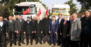 Mardin'den, Elazığ, Malatya ve İdlib'e 12 tır insani yardım