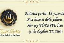 Şahin'den, AK Parti'nin 18. kuruluş yıl dönümü
