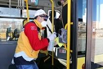 Toplu taşıma araçları dezenfekte ediliyor