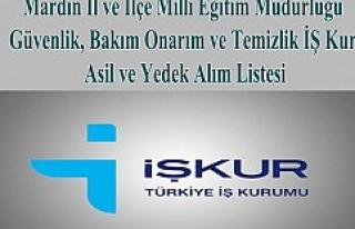 Mardin İŞ Kur Asil ve Yedek Alım Listesi