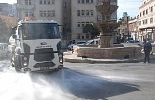 Midyat'ta Cadde ve sokaklar koronavirüse karşı...
