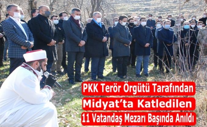 PKK Terör Örgütü tarafından Midyat'ta katledilen 11 vatandaş mezarı başında anıldı