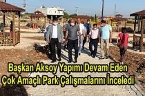 Başkan Aksoy Yapımı Devam Eden Çok Amaçlı Park Çalışmalarını İnceledi