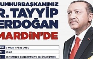 Cumhurbaşkanı Recep Tayyip Erdoğan Mardin'e,...
