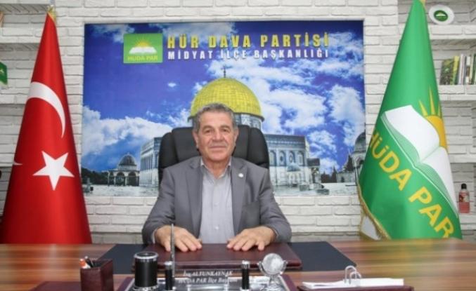 HÜDA PAR Midyat ilçe Başkanı Altunkaynak'tan Kurban Bayramı mesajı